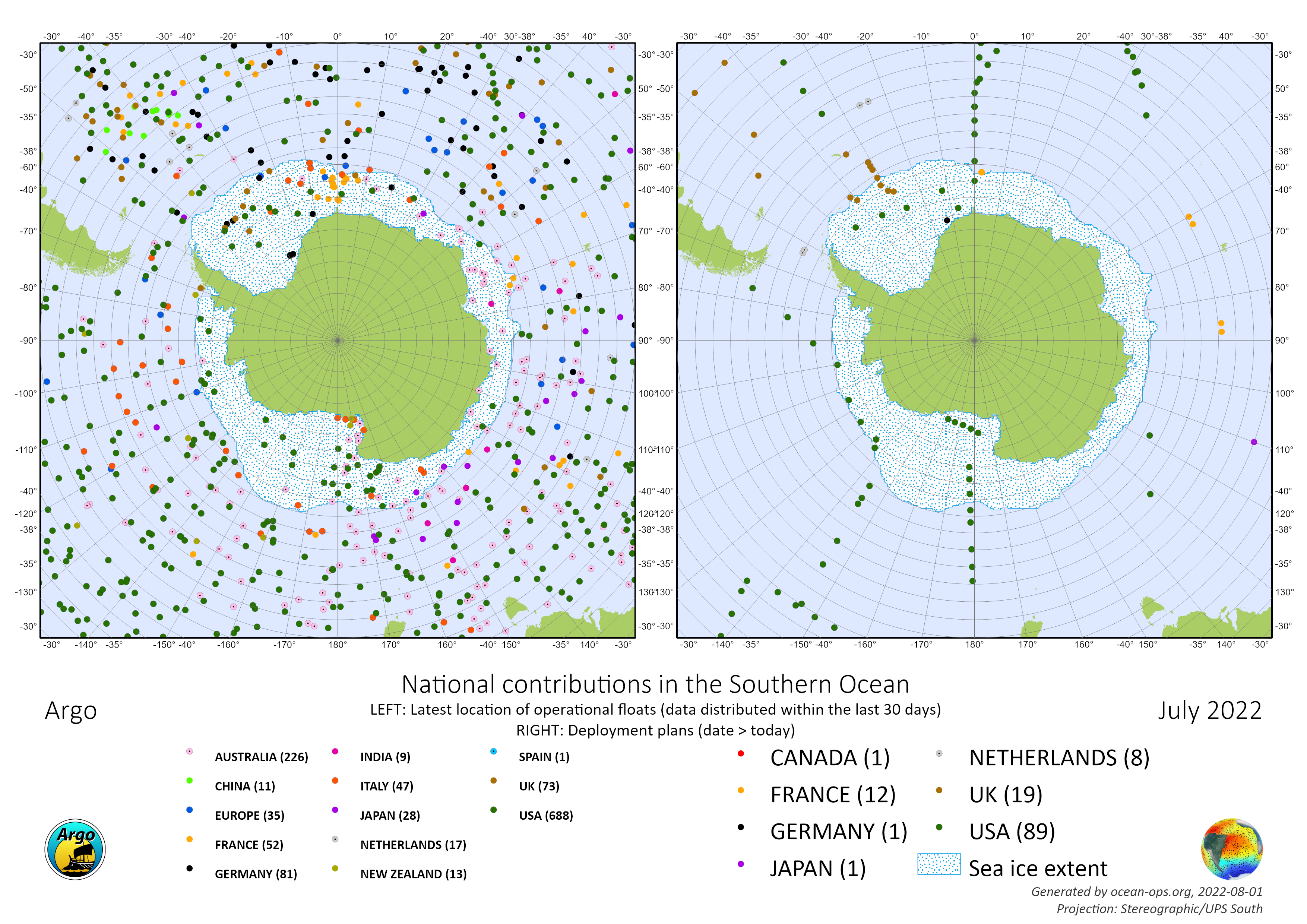 Current Argo float status and planned float deployments in the Southern Ocean